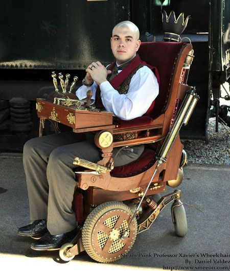 "The Steampunk Professor Xavier Wheelchair by Daniel Valdez was made from a Victorian rocker from 1875, a Permobil C300 powered wheelchair, some pistons from a steelworks, an Arduino-based audio kit, and a drinks dispenser. (And BTW Pinterest, tell me my pins look ""fishy"" one more damn time and I'm gone to Reddit for good! LOL)"