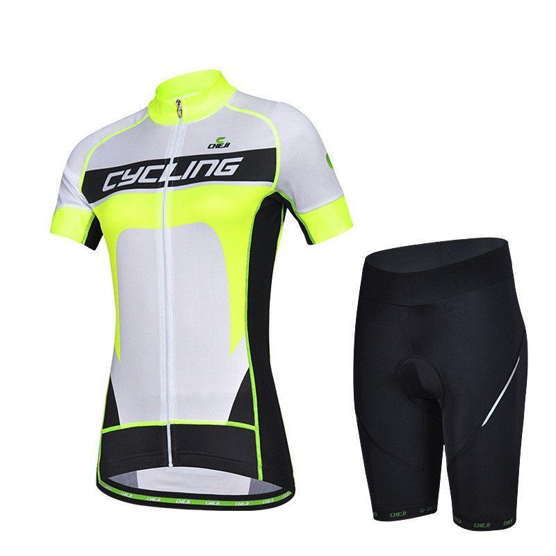 Fluorescent Green Short Sleeve Cycling Jersey Set