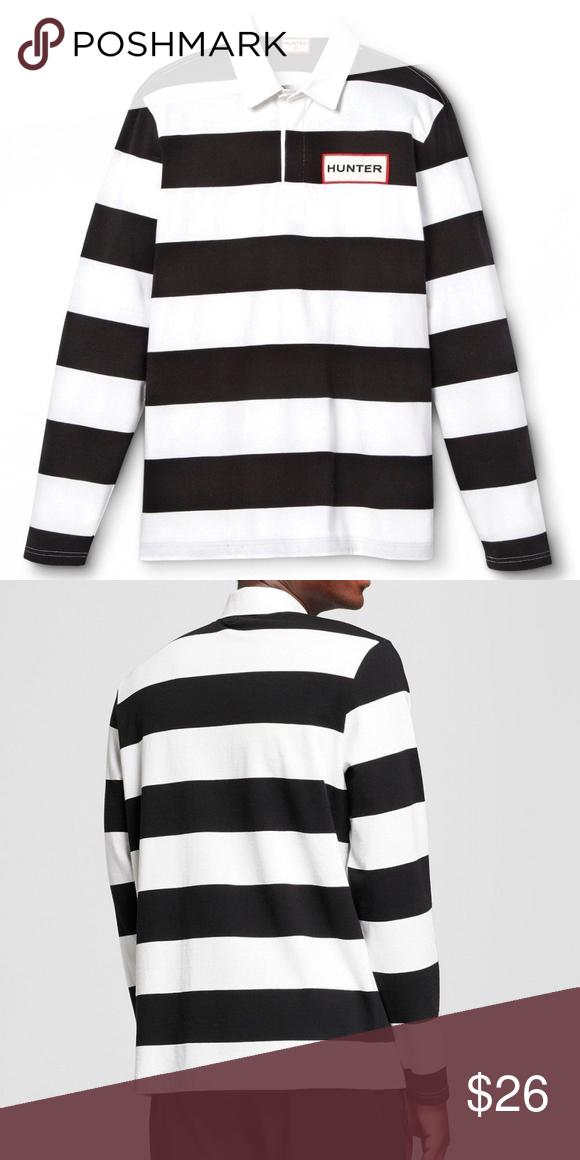 Hunter Rugby Polo Shirt Striped White Black Striped Polo Shirt