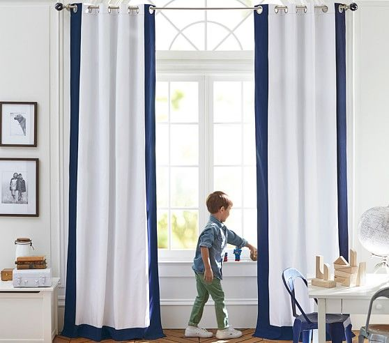 Color Bordered Blackout Curtain Navy 84 Quot Cool Curtains