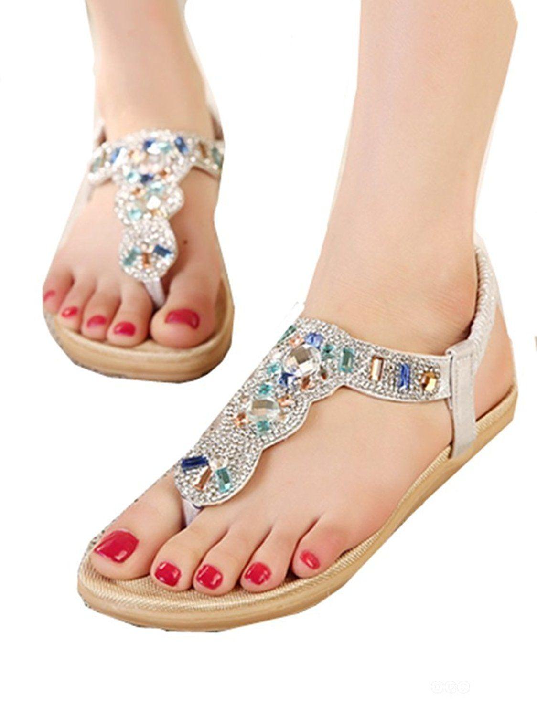 Women Fashion Sweet Beaded Flat Clip Toe Bohemian Herringbone Rhinestone Sandals Beach Shoes Elegant New