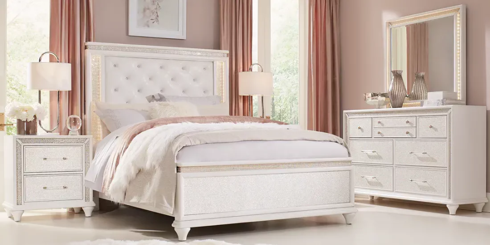 Sofia Vergara Vegas White 5 Pc Queen Panel Bedroom Rooms To Go
