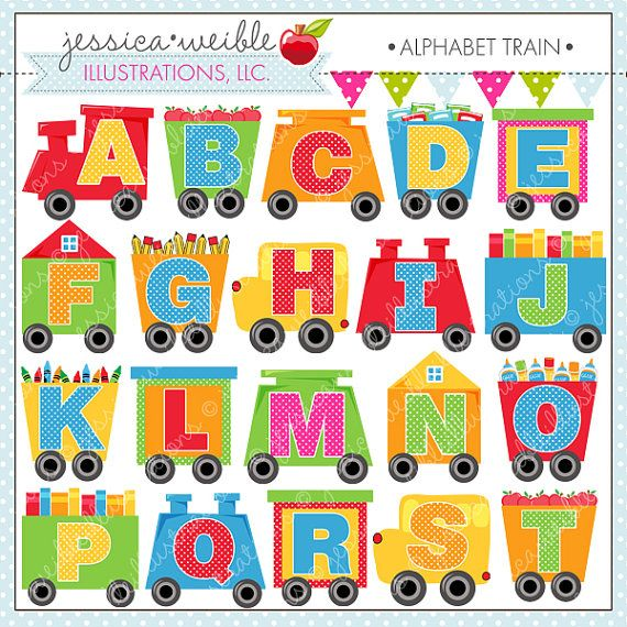 Alphabet Train Cute Digital Clipart for Commercial or ... Cute Alphabets
