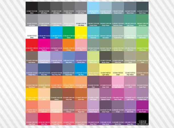 Cmyk Color Chart   Follow The Link To Download It As Ai And Pdf