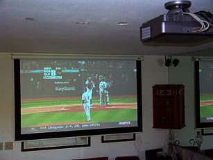 view of ceiling mounted sanyo plv z4 projector and baseball game in high definition sports. Black Bedroom Furniture Sets. Home Design Ideas