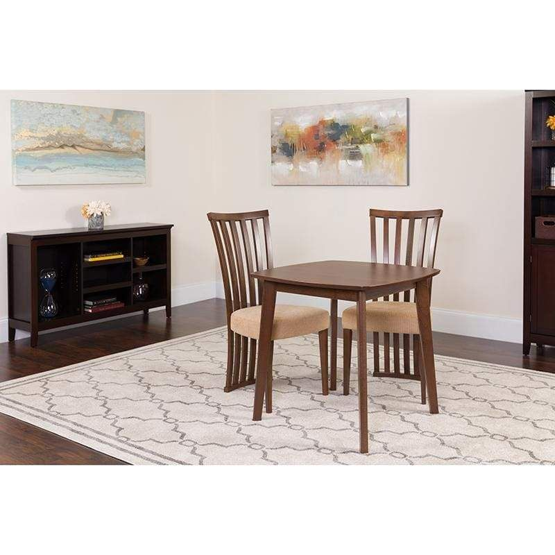 Best Westerly 3 Piece Walnut Wood Dining Table Set With 640 x 480
