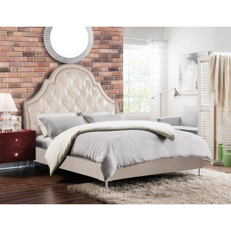 Chic Home Handel PU Leather Modern Contemporary Button Tufted Queen ...