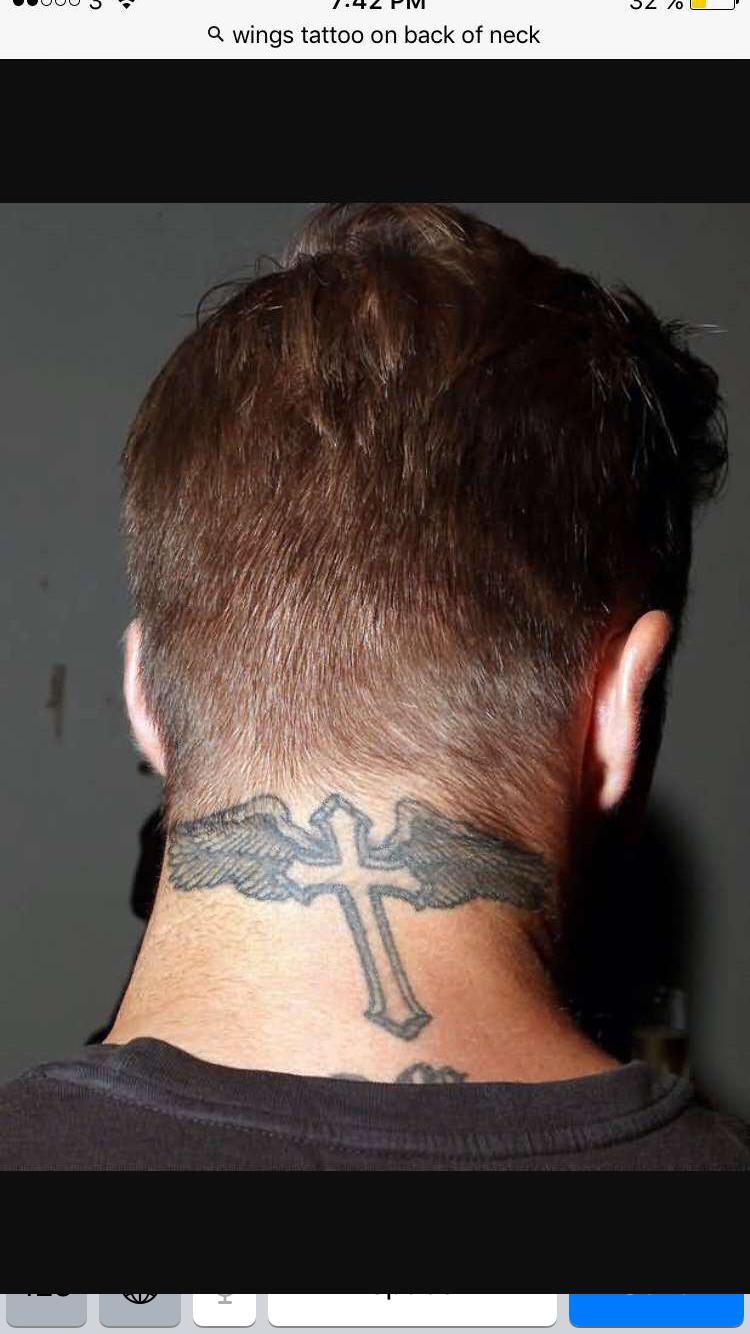 cf72a690dc59d David Beckham Neck Tattoo, Tattoo Beckham, Cross Tattoo Neck, Back Of Neck  Tattoo