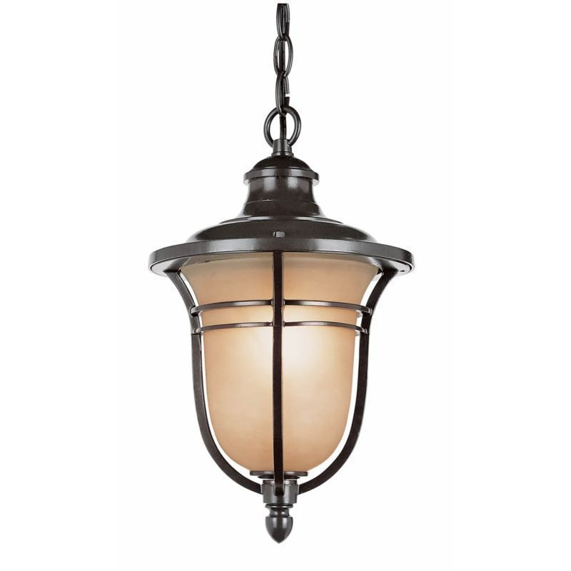 Cambridge 1-Light Rubbed Oil Bronze 14.75 in. Outdoor Hanging Lantern with Amber Glass