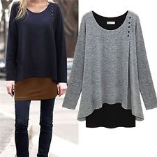 Womens Irregular Long Blouse Shirt Loose Tunic Sweater Pullover ...