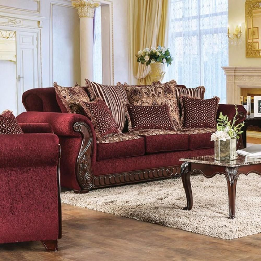 Tabitha Traditional Style Fabric Leatherette Sofa Wine Traditional Sofa Furniture Furniture Of America