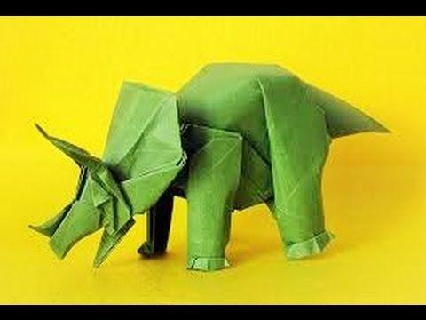 origami triceratops dinosaurio como hacer triceratops