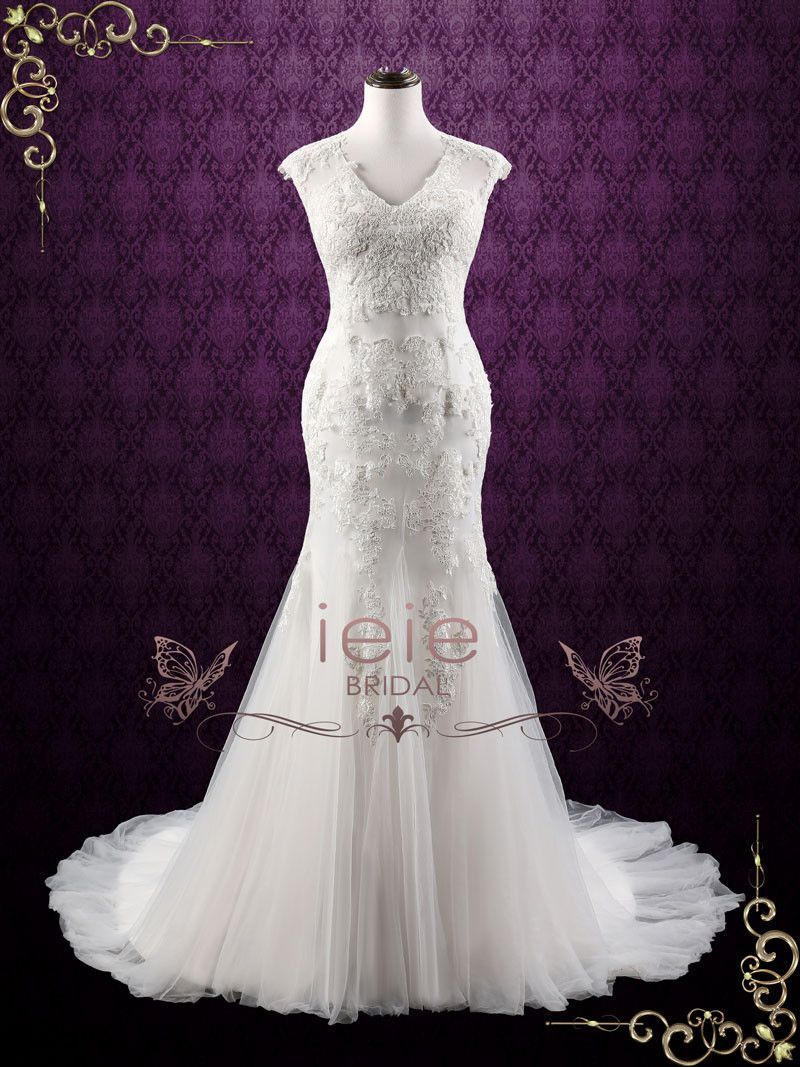 Wedding dresses mermaid style lace  Lace Mermaid Wedding Dress with Soft Tulle  Isabelle  Lace Wedding