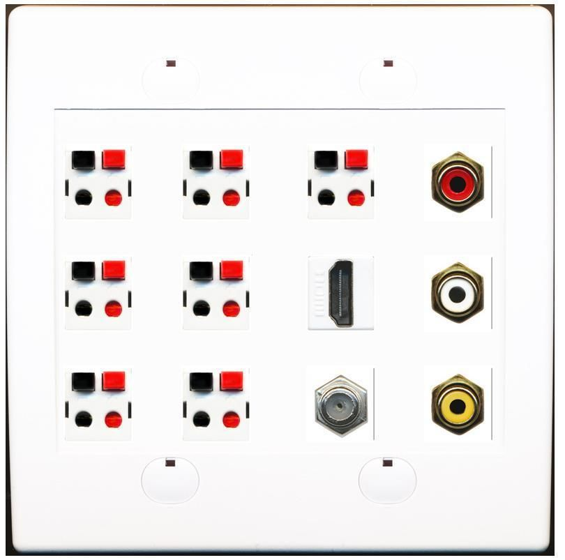 2 Gang 7 Speaker 1 Composite 1 Hdmi 1 Coax Cable Tv A V Wall Plate Plates On Wall Custom Wall Wall