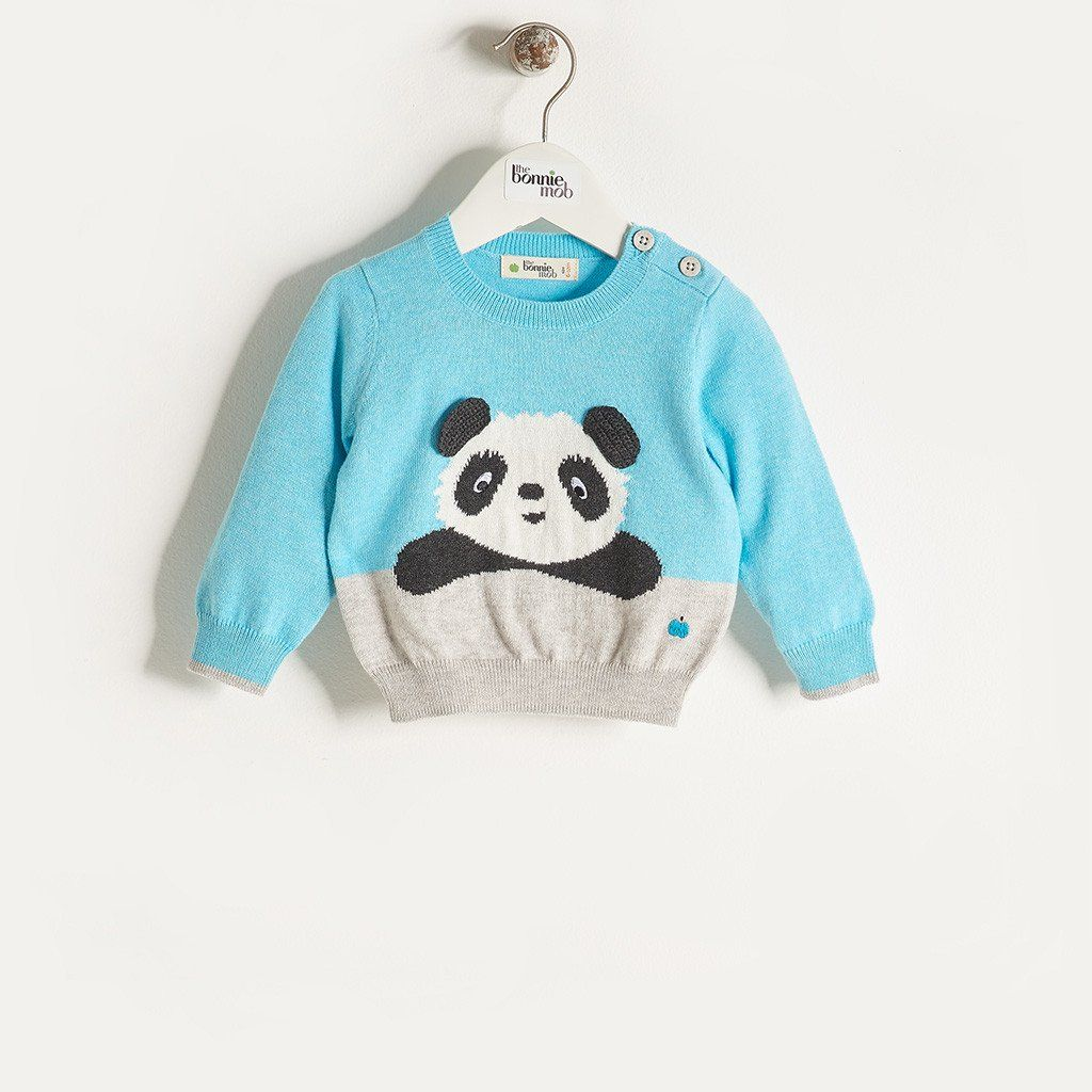 498ead73e79 PAX - Baby Boy Knitted Panda Sweater - Pale Blue