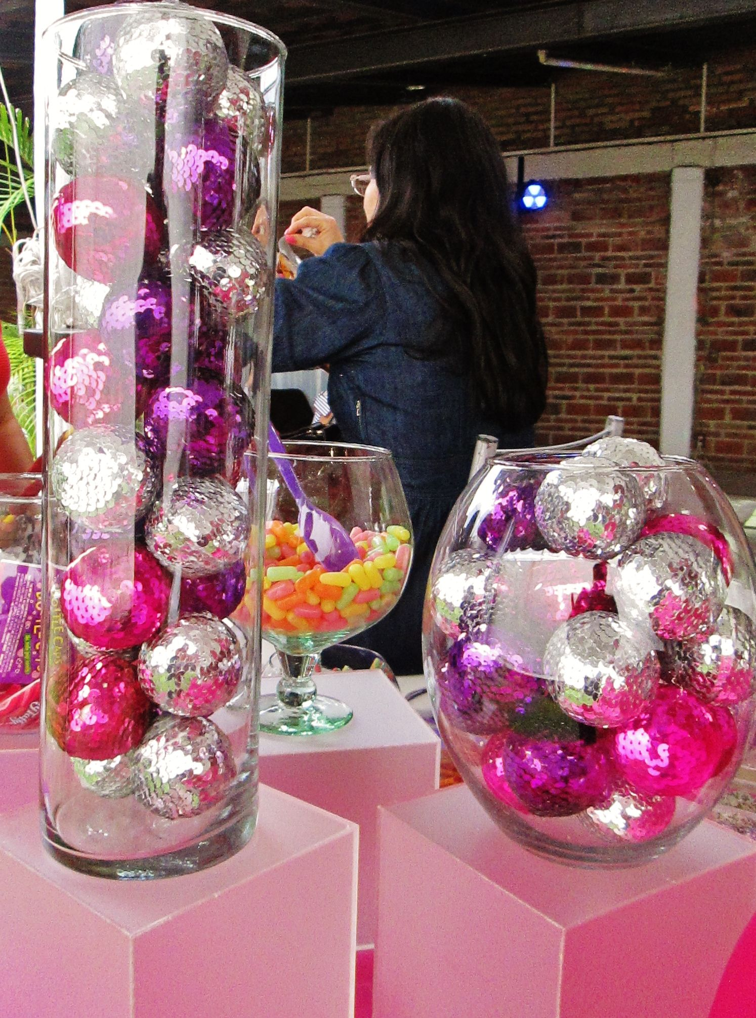 Christmas Decorations Used For Centerpieces For Disco Party