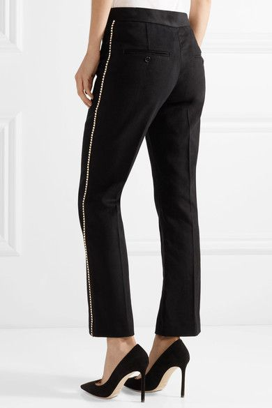 Philea Swarovski Crystal-embellished Felt Straight-leg Pants - Black Isabel Marant jbKtAV