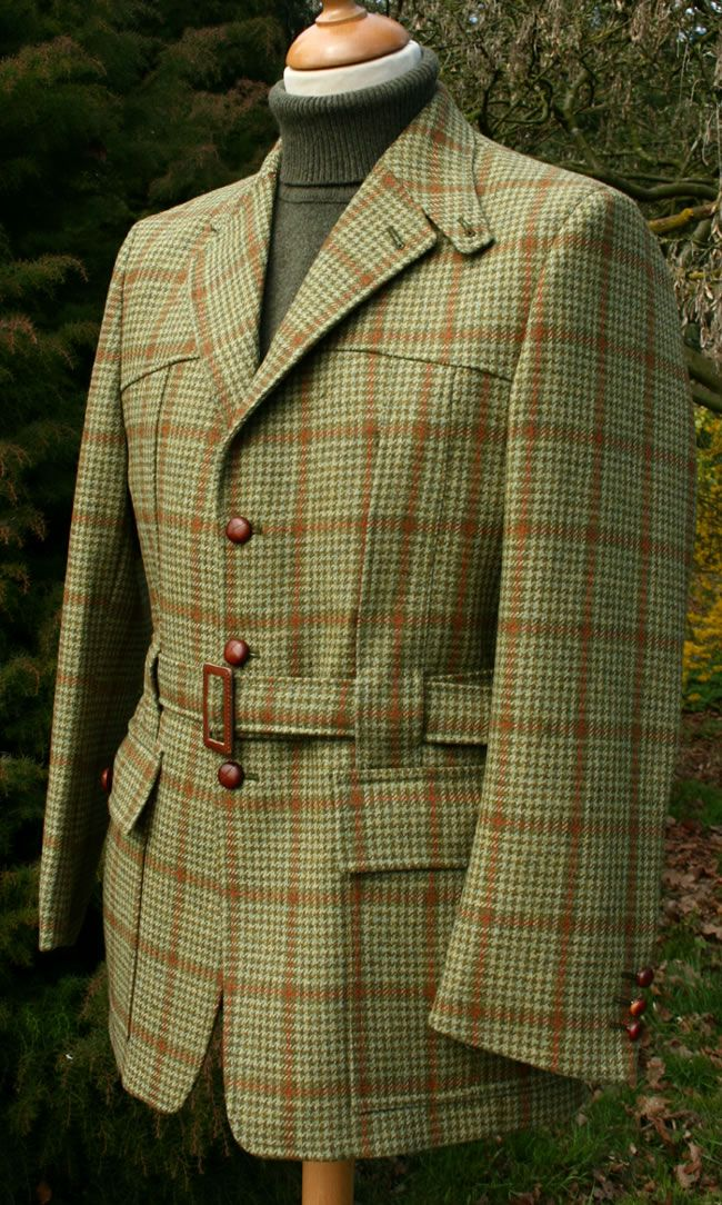 Classic English Style Tweed Norfolk Jacket Brit Chic Bekleidung