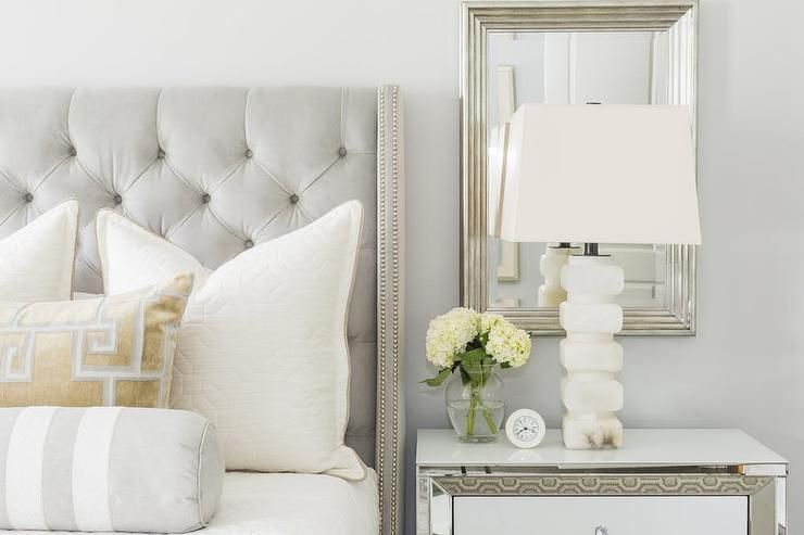 Elegant Gray And Gold Bedroom Is Furnished With A Heather Gray