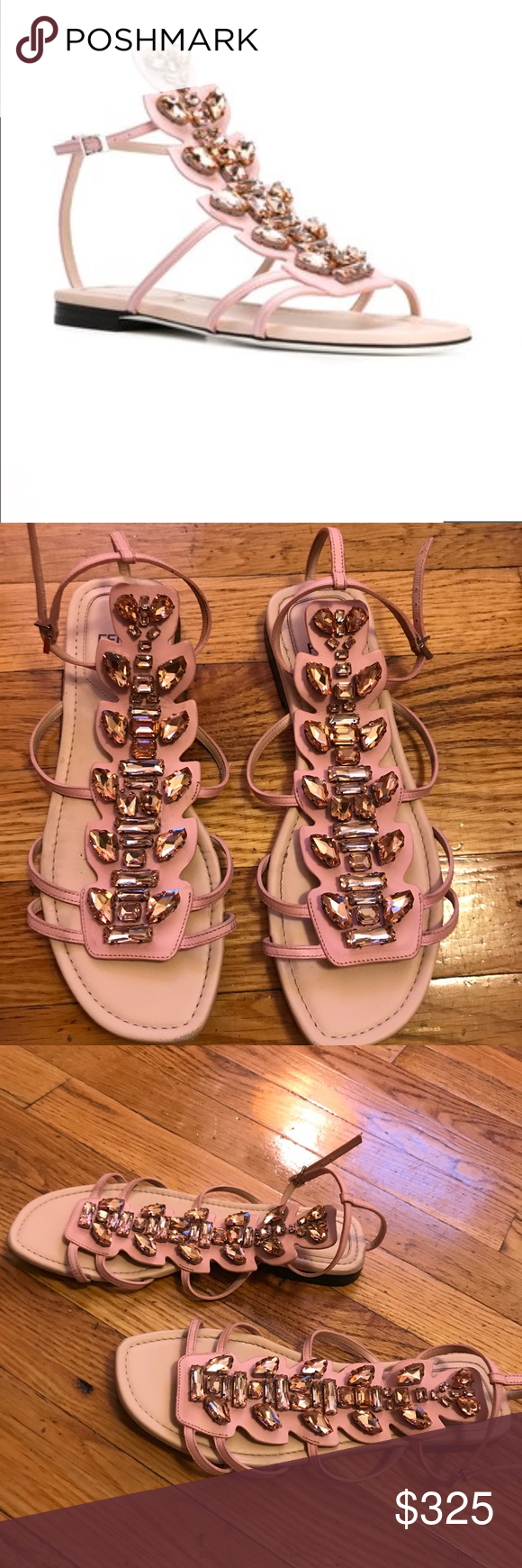 c5dcdc72f01c7 FENDI Crystal Embellished Flat Sandals Pink calf leather crystal  embellished flat sandals from Fendi featuring an