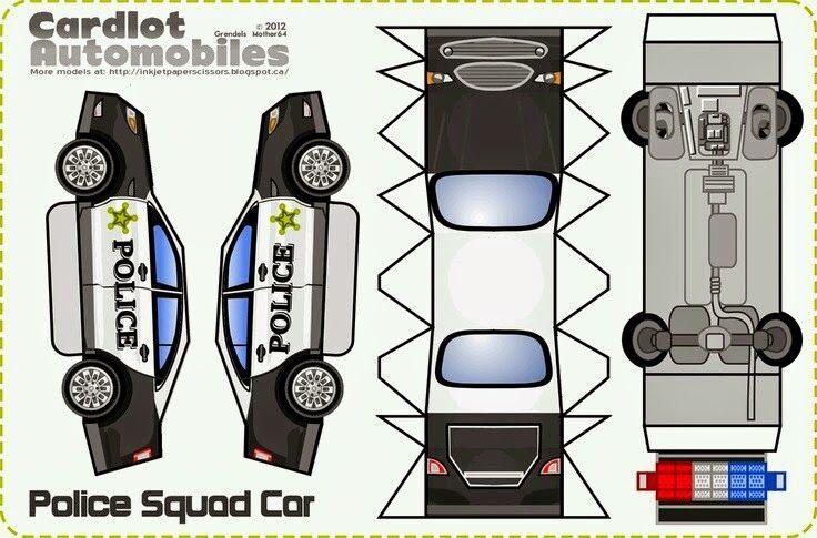 Imprimible coche policía | Coche de cartón, Carritos de carton y ...