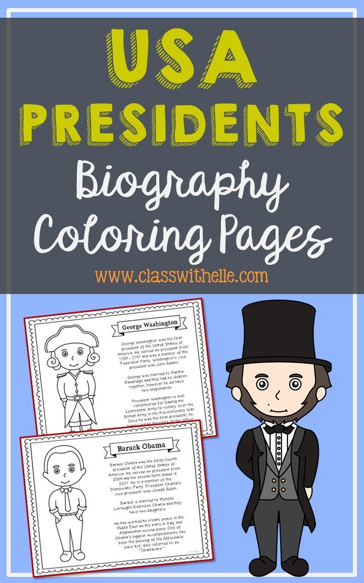 45 USA Presidents Coloring Page Crafts or Posters with Mini ...