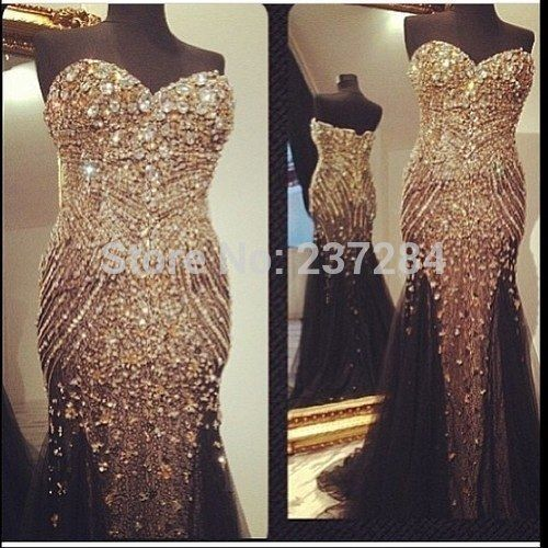 Vestido de festa com tule 2015 Sexy Luxury Sparkly Crystal Dress Rhinestone Worked Black/Champagne Tulle Mermaid Evening Dress