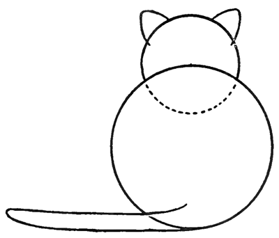 Step 03 cats How to Draw Kitty Cats from the Back Easy Step by Step Drawing Tutorials for Kids & Preschoolers