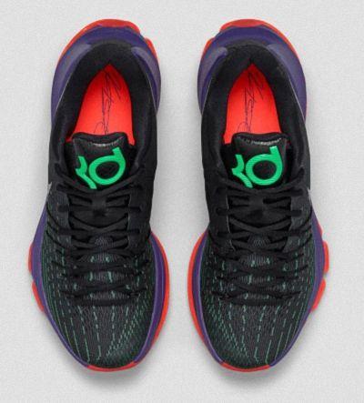 the latest 536b6 f8c42 Nike KD 8 Vinary Black White Shock Green Hyper Orange 749375 013