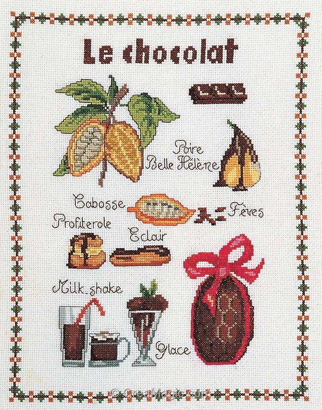 Broderie Au Point De Croix Le Chocolat Sur Toile Aida En Kit Broderie De Marie Coeu Point De Croix Modeles De Point De Croix Gratuits Modeles De Point De Croix