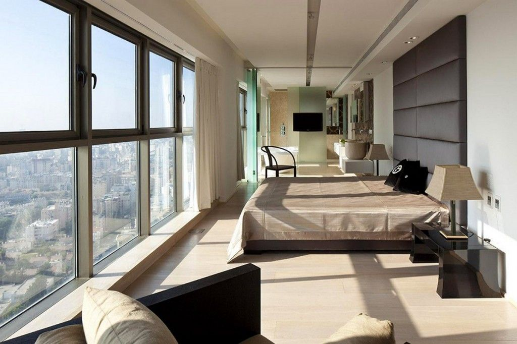 Modern Luxurious Beachside Opera Penthouse Bedroom Brown Tall Leather  Headboard Beds And Retractable Glass Windows Design