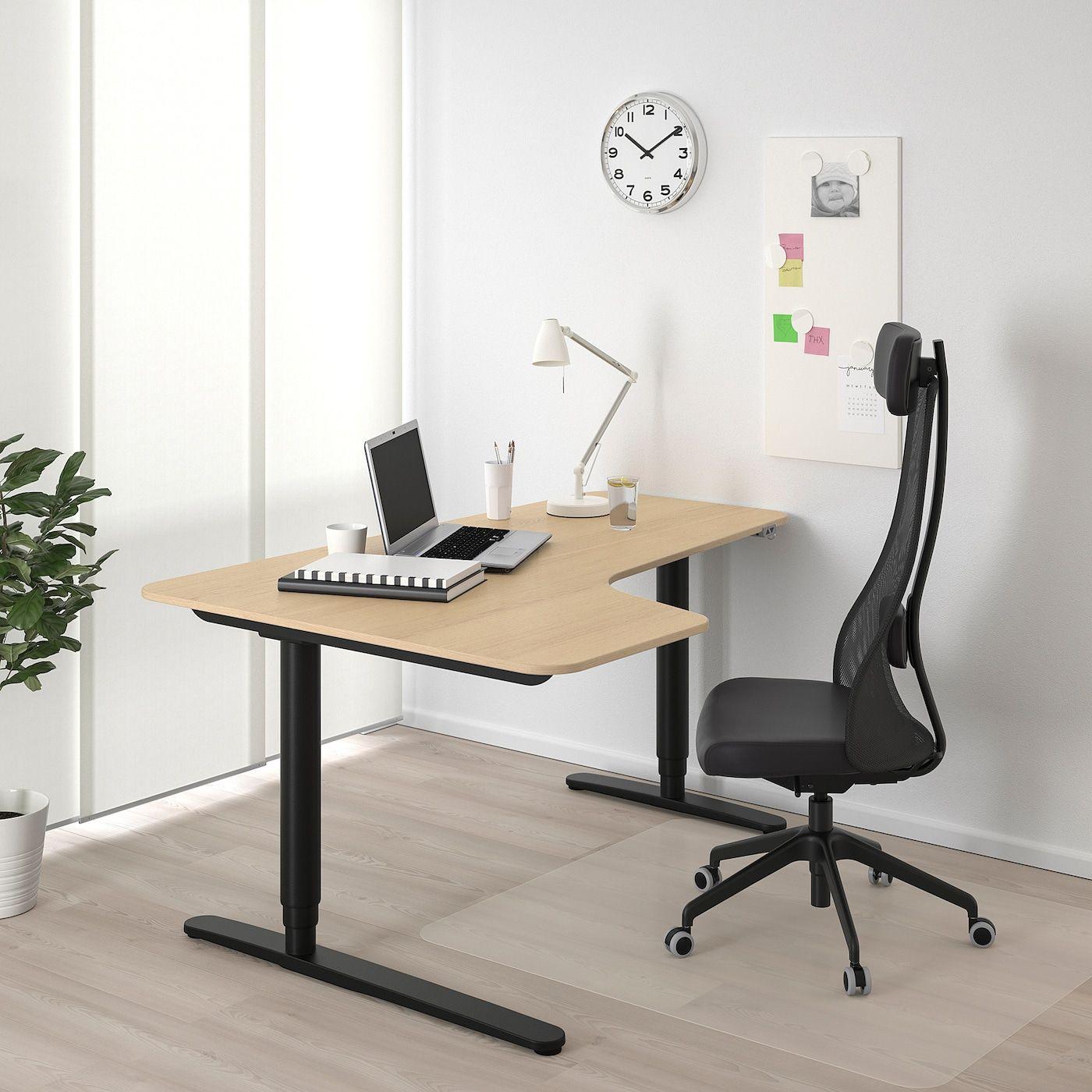 Bekant Corner Desk Left Sit Stand White Stained Oak Veneer Black Ikea In 2020 Ikea Bekant Ikea Bekant Desk Reception Desk Black