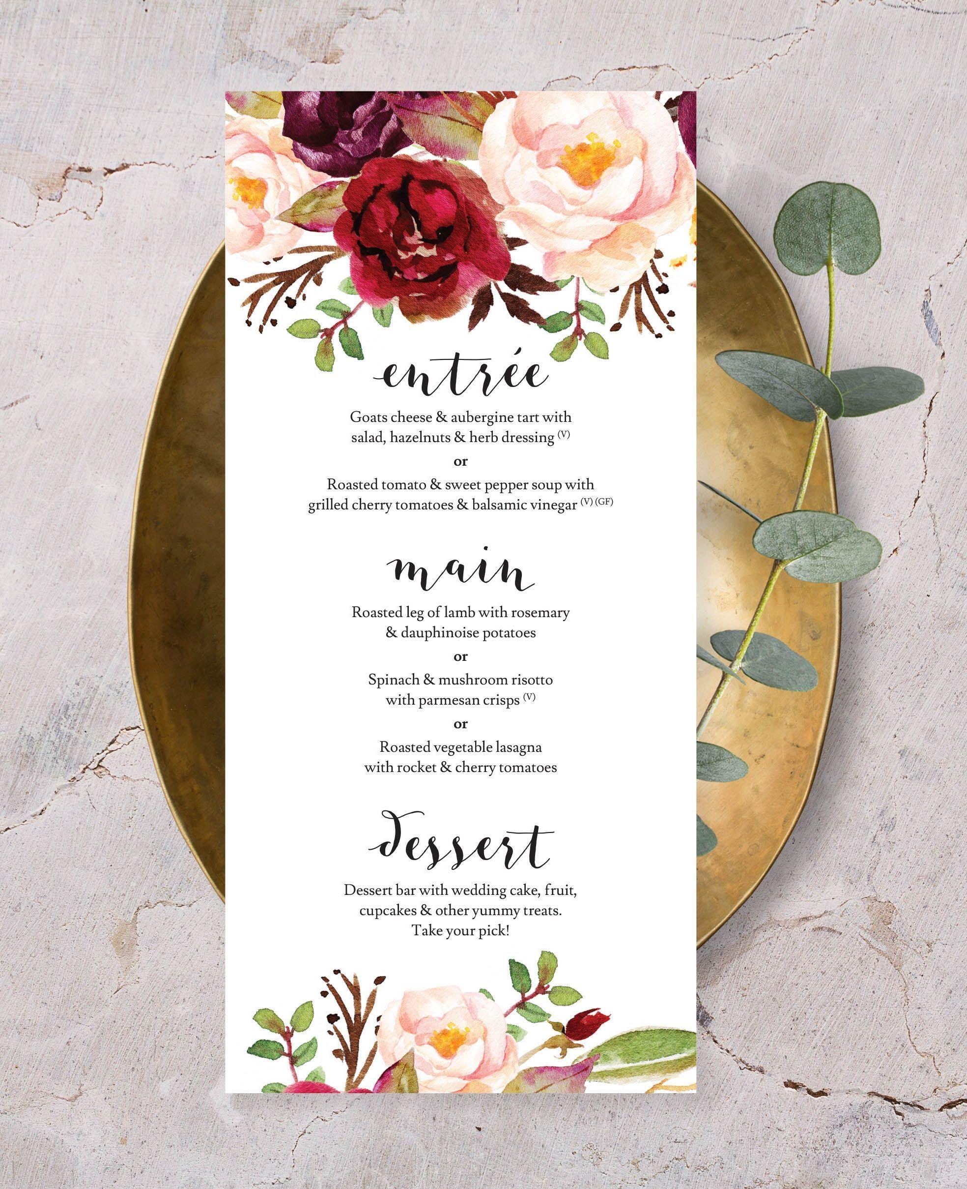 printed menus with floral watercolours #bohoweddinginvites