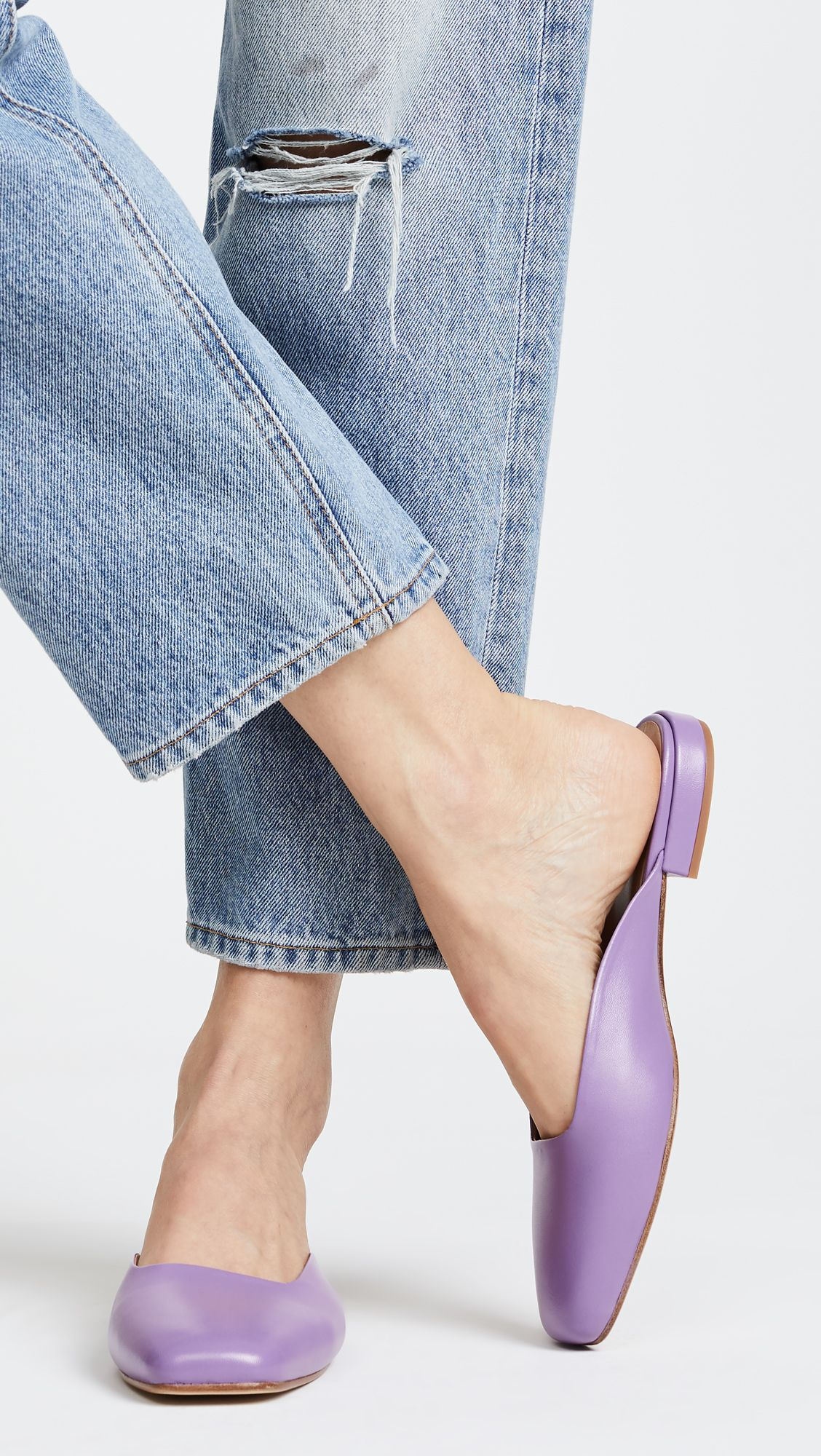 Lavender Leather Mules | Me too shoes