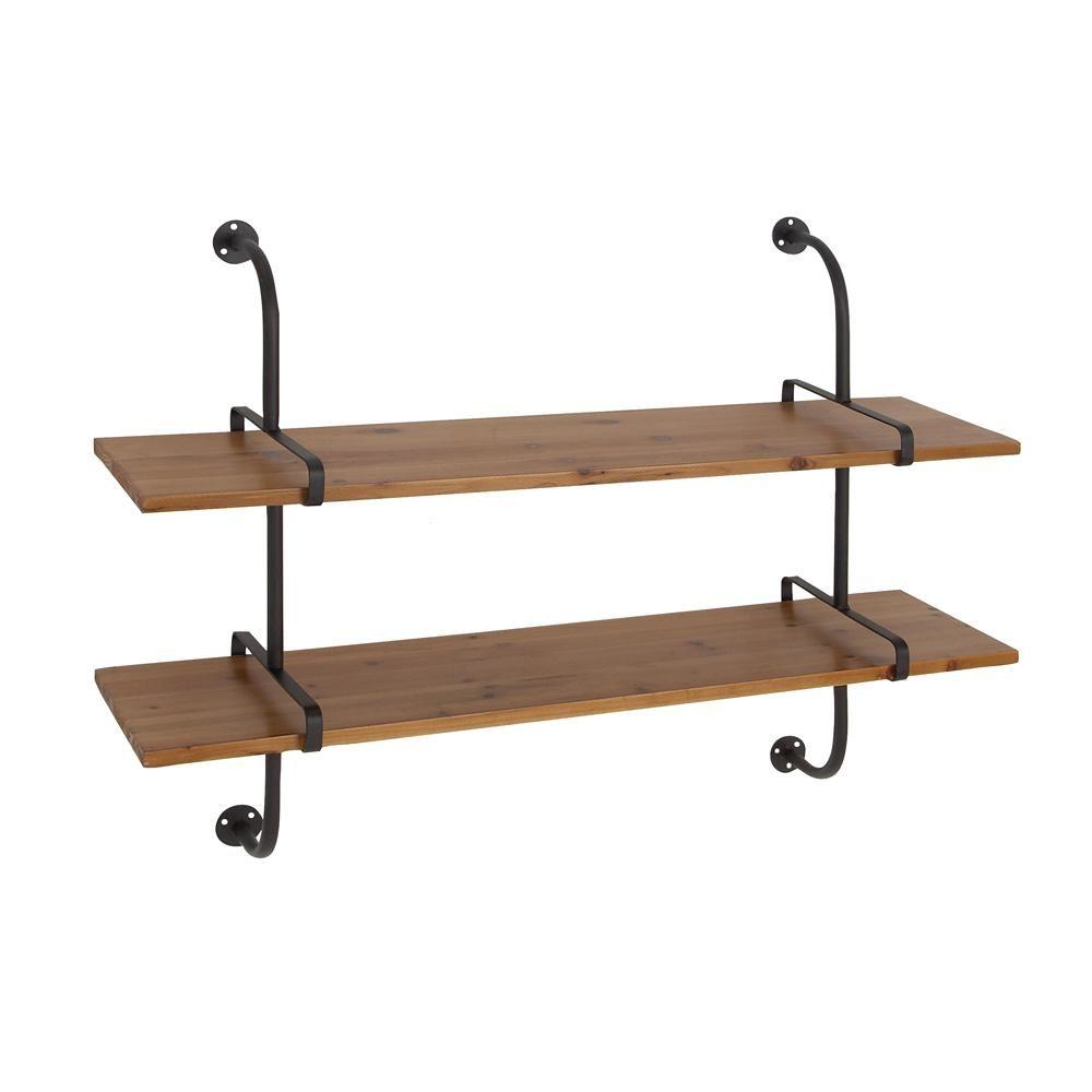 Litton Lane Brown 2 Tier Rectangular Wall Shelf Wall Shelves