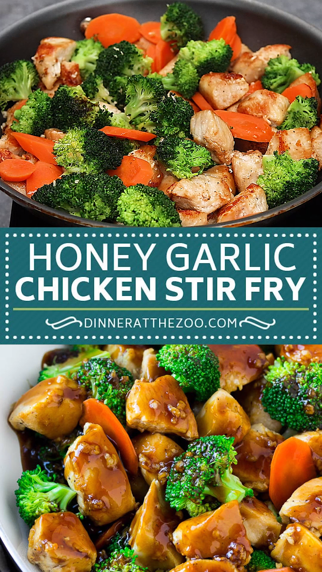 Honey garlic chicken stir fry with broccoli and carrots is a healthy dinner choice. #chicken #stirfry #healthy #dinneratthezoo