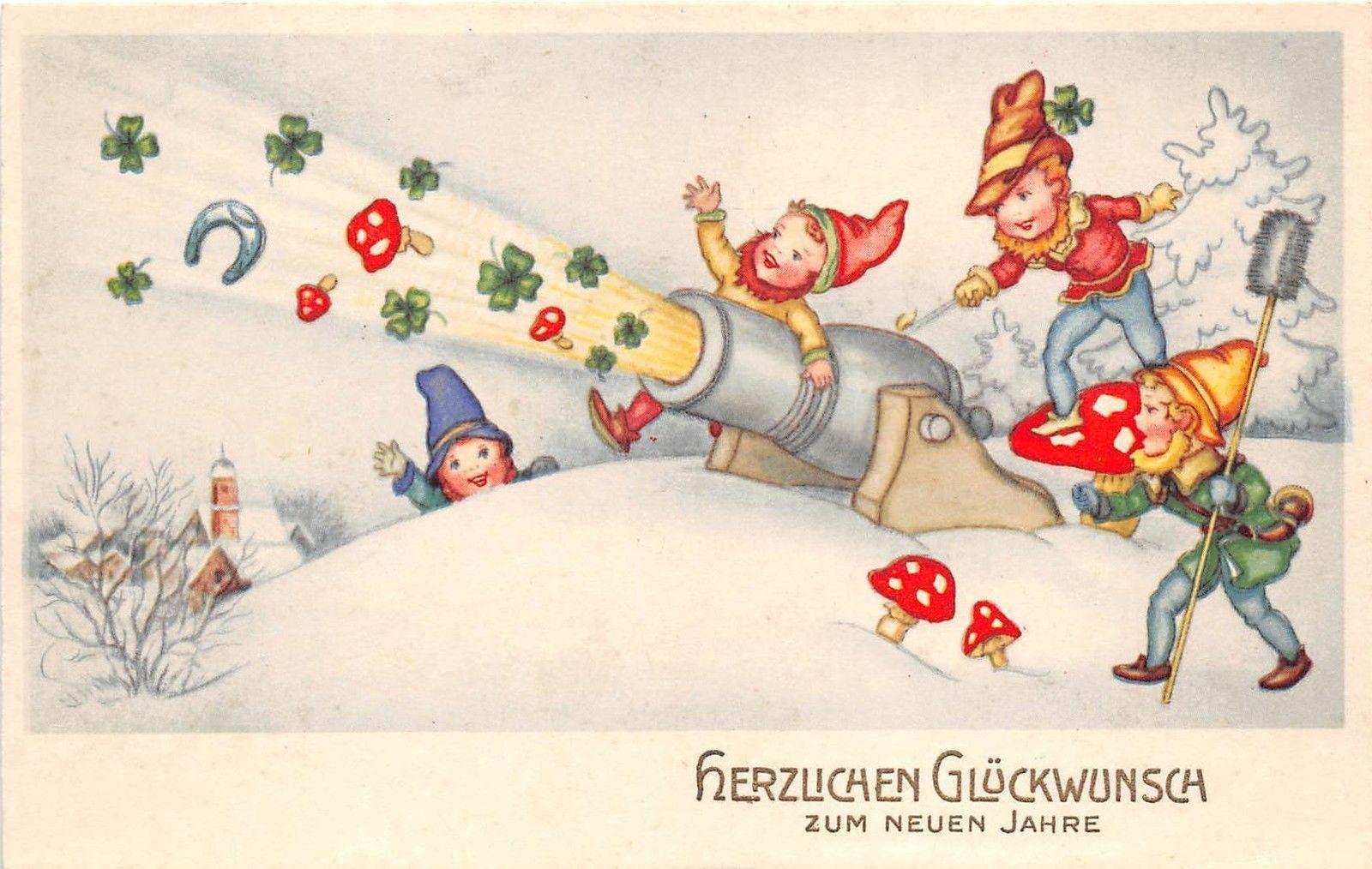 Bg8593 Cannon Dwarf Clover Mushroom Horseshoe Neujahr New Year