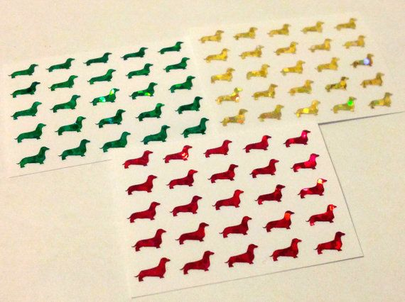 Limited Edition Dachshund Sparkle Nail Decal Stickers by Craftlockian, $3.00  * Bling! *