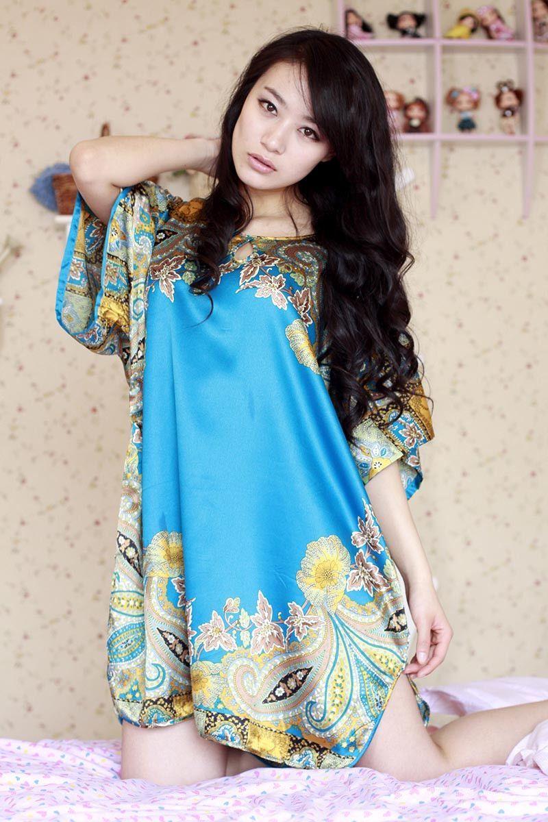 Summer Womens Silk Nightgowns Stain Short Sleeve Sleepwear Night Dress  Robes Sleepshirts Plus Size 5003ab0d9