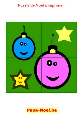 Super Puzzle de boule de Noël à imprimer. Puzzle de NOEL pour petite  RK06