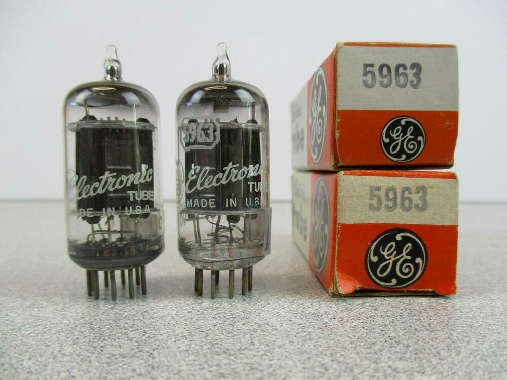2 Ge 5963 12au7 Vacuum Tubes Black Plate Matched Pair New Old Stock Ge Elektronnaya Lampa