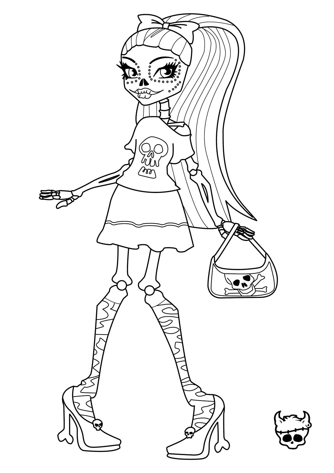 frankie stein and clawdeen wolf monster high coloring page for