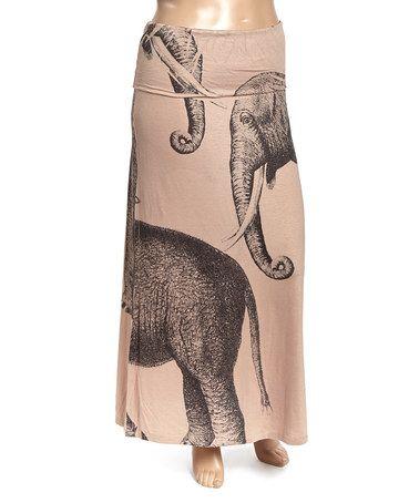 Tan Elephant Maxi Skirt - Women & Plus #zulily #zulilyfinds