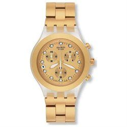 Click it to buy it. Browse our many styles of Swatch watches. With our wide selection of men's and women's Swatch watches, you are sure to find the perfect watch to fit your lifestyle. Overall Color: Grey / Gold Family: Irony / Diaphane Chrono Chronograph Date Water Resistance 45mm in diameter including the crown Band Color: Gold Metal, Band Width: 22mm near case, 21mm near clasp/buckle, Bezel Color: Gold, Case: Clear + Tonneau-shaped, Case Finish: Flat + Plastic, Case Thickness...