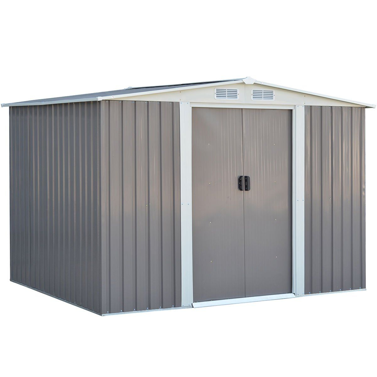 Goplus Galvanized Steel Outdoor Garden Storage Shed 6 X 8 Ft Heavy Duty Tool House W Sliding D Small Outdoor Storage Outdoor Storage Sheds Garden Storage Shed