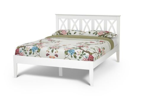 Hevea Hard Wood Bed Frame HONEY OAK Finish Or OPAL WHITE Ornate Headboard