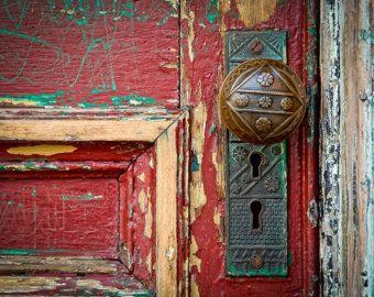 Red Door Maroon Burgundy Doorknob Urban Decay Weathered Rustic Photography Vintage Antique Fine
