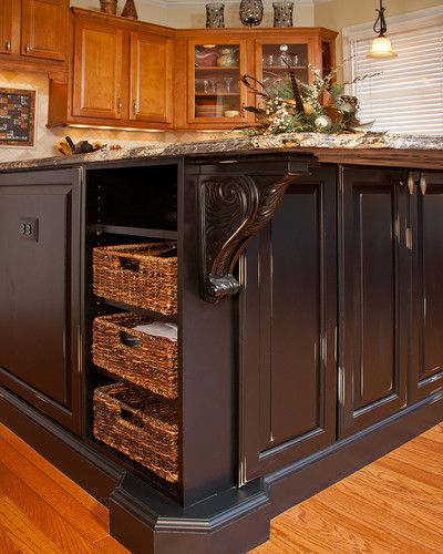 Gorgeous black rub through finish on the custom designed for Granite countertop overhang