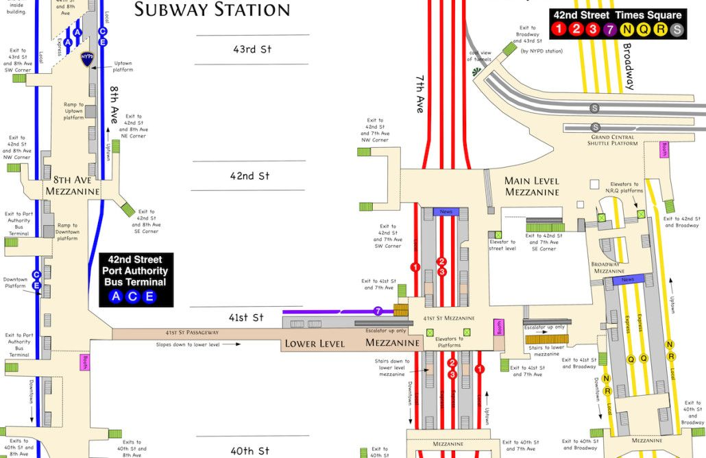 Subway Map Times Square.Times Square Subway Map Knowing Where You Re Going New York City