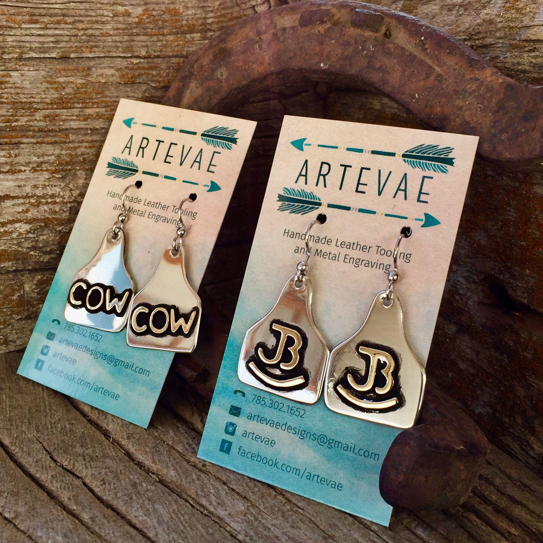 Custom Cattle Ear Tag Earrings By Artevae Metal Engraving My Credit